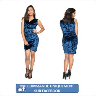 Robe velours bleu