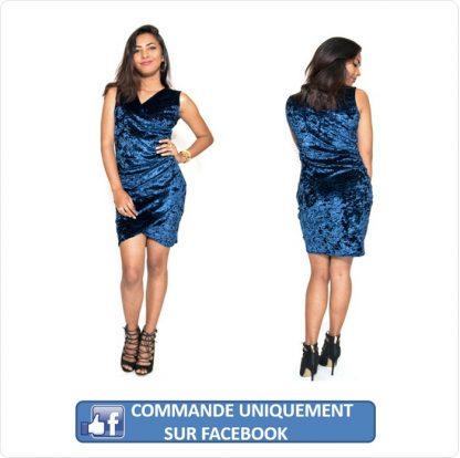 Robe velours bleu